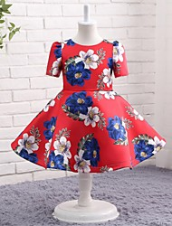 A-line Knee-length Flower Girl Dress - Jersey Jewel with Pattern / Print