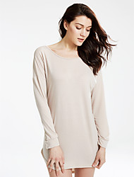 Women's Casual/Daily Sexy Loose DressSolid Round Neck Above Knee Long Sleeve Red / Beige /