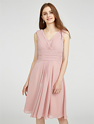 LAN TING BRIDE Knee-length Chiffon Bridesmaid Dress - A-line V-neck Plus Size / Petite