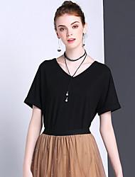 Tee-shirt Femme,Couleur Pleine Décontracté / Quotidien Sportif simple Eté Manches Courtes Col en V Polyester Spandex Moyen