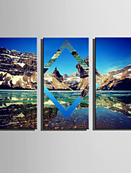 E-HOME Stretched Canvas Art Visions Of Mountains And Waters Decoration Painting Set Of 3