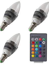 YouOKLight 3PCS E14 3W 200LM AC85-265V 1*High Power LED RGB Dimmable Remote-Controlled LED Candle Lights