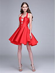 LAN TING BRIDE Short / Mini Halter Bridesmaid Dress - Short Sleeveless Satin