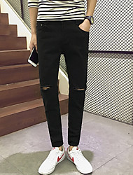 Men's Mid Rise Micro-elastic Jeans Pants,Street chic Straight Ripped Solid