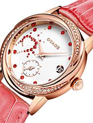 Mulheres Relógio de Moda Suíço Quartzo Couro Legitimo Banda Vermelho Rosa Rose