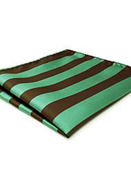 CH27 New Fashion Mens Pocket Square Handkerchiefs Green Brown Stripes 100% Silk Unique Classic Handmade