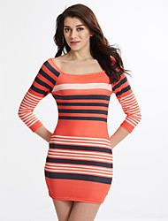Women's Going out Sexy Bodycon Dress,Striped / Color Block Round Neck Mini ¾ Sleeve