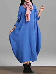 Women's Casual/Daily Simple Loose Dress,Solid Round Neck Maxi Long Sleeve Cotton Linen Summer Mid Rise Micro-elastic Thin