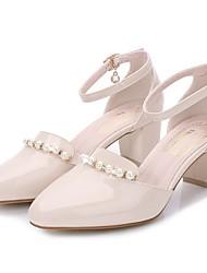 Damen-Sandalen-Lässig-Lackleder-Blockabsatz-Komfort-Schwarz Violett Mandelfarben