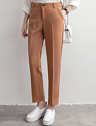Women's Mid Rise Micro-elastic Business Pants,Simple Straight Solid