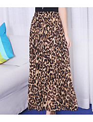 Feminino Cintura Alta Midi Saias,Balanço Leopardo