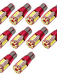 10pcs t10 3014 57smd canbus clearance lumières lampe super blanc w5w voiture lumière dc12v