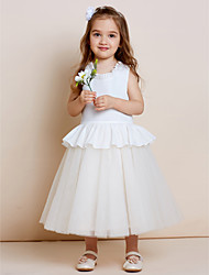 A-line Tea-length Flower Girl Dress - Cotton Tulle Jewel with Draping Ruffles