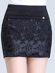 Women's High Rise Micro-elastic Shorts Pants,Slim Lace Jacquard Solid