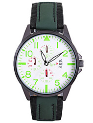 Men's Fashion Watch Chinese Quartz Leather Band Red Green Yellow