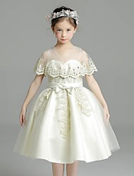 Ball Gown Short / Mini Flower Girl Dress - Organza Jewel with Bow(s) Crystal Detailing Lace Sash / Ribbon