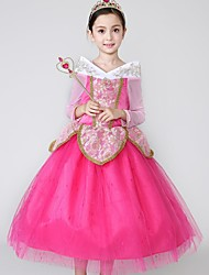 Ball Gown Tea-length Flower Girl Dress - Satin Tulle High Neck with Embroidery Lace Ruffles