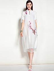 Feminino Evasê Vestido,Para Noite Casual Férias Vintage Boho Moda de Rua Sólido Floral Bordado Colarinho Chinês Médio Manga CurtaSeda