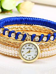 Mulheres Relógio de Moda Chinês Quartzo Colorido Rosa Folheado a Ouro Banda Bracelete Preta Branco Vermelho Roxa Azul Marinho