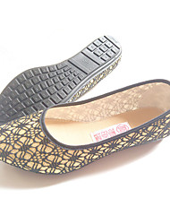 Damen-Sandalen-Lässig-Stoff-Keilabsatz-Komfort-Gold Grün Khaki