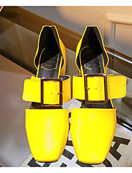 Women's Heels Summer Light Soles PU Casual Low Heel Red Yellow Black