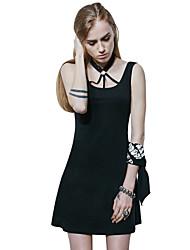 Punk Rave Women's Casual Sexy Vintage Punk Gothic Black Sleeveless Dress