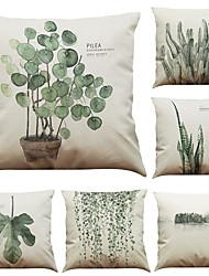 Set of 6 Tropical Rain Forest Ferns  Pattern Linen Pillowcase Sofa Home Decor Cushion Cover  Throw Pillow Case (18*18inch)