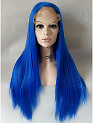 Long Straight Blue Candy Colored Cosplay Heat Resistant Lace Front Wig