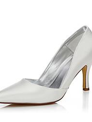 Feminino-Sapatos De Casamento-Conforto Sapatos clube Sapatos Dyeable-Salto Agulha-Ivory-Seda-Casamento Ar-Livre Escritório & Trabalho