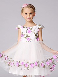 Ball Gown Knee-length Flower Girl Dress - Satin Tulle Polyester Short Sleeve Off-the-shoulder withBow(s) Flower(s) Pattern / Print Sash /