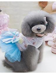 Chien Robe Vêtements pour Chien Eté Princesse Mignon Mode Décontracté / Quotidien Vert Bleu Rose