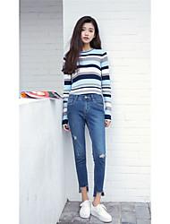 assinar foi finos trecho denim calças pés lápis calças meia-calça fêmea magro coreano desgastado