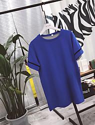 T-shirt Da donna Casual SempliceTinta unita Rotonda Cotone Mezze maniche