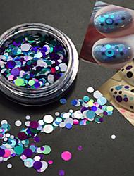 1bottle mode ronde tranche nail art décoration mélangée taille colorée laser paillette paillette tranche p8