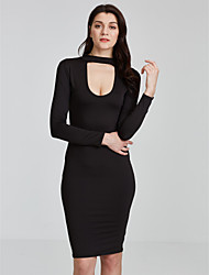 Women's Choker|Cut Out Formal / Party Sexy Bodycon Dress,Solid V Neck Mini Long Sleeve Red / Black Cotton / Spandex Spring / Fall Mid Rise