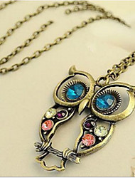 Owl Necklace Korean Rhinestone Euramerican Vintage Long Pendant Sweater Chain Necklace Women Office Lady Jewelry