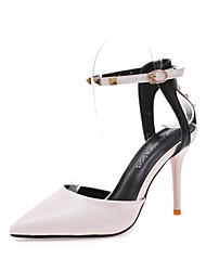 Women's Heels Spring Summer Club Shoes PU Dress Casual Stiletto Heel Buckle Khaki Black White Walking