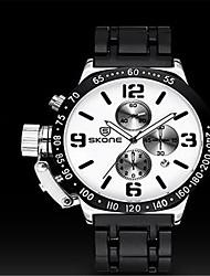 SKONE Masculino Relógio Esportivo Relógio de Moda Chinês Quartzo Silicone Banda Preta