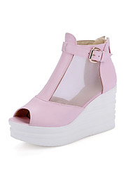 Women's Sandals Spring Summer Gladiator Comfort Customized Materials Tulle Leatherette Office & Career Dress Casual Wedge HeelSplit Joint