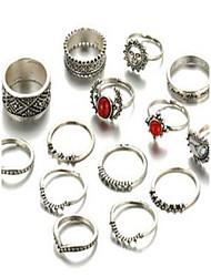 Set de Bijoux Bague Basique Alliage Forme de Cercle Argent Anneaux Pour Quotidien Décontracté 1 Set Cadeaux de mariage