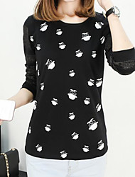 Tee-shirt Femme,Imprimé Sortie simple Manches Longues Col Arrondi Polyester