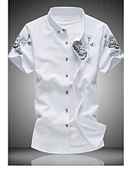 Men's Casual/Daily Simple Summer Shirt,Floral Button Down Collar Short Sleeves Cotton
