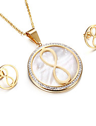 Kalen 2017 New Infinity Jewelry Set Stainless Steel Puerto Rico Gold Plated Lucky Infinity Number 8 Pendant Necklace & Earrings Sets For Women