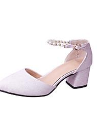 Women's Heels Spring Summer Fall Comfort PU Office & Career Dress Chunky Heel Imitation Pearl Blushing Pink White