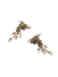 Hoop Earrings Crystal Euramerican Personalized Chrome Leaf Light Green Jewelry For Housewarming Thank You Business 1 pair