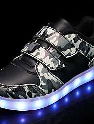 LED's Shoes Boys' Sneakers Summer Fall Light Up Shoes Camo Synthetic Outdoor Athletic Casual Flat Heel Hook & Loop Black/Yellow Black White