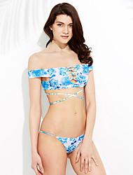 Femme Bohème/lacet/Epaules Dénudées Bikinis Aux s Fleur Bandeau Polyester