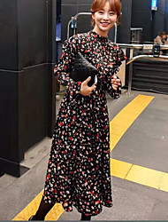 17 Famous early spring half-chic aristocratic temperament round neck long-sleeved floral dress flouncing speaker