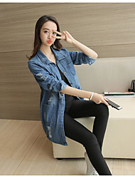 Women's Casual/Daily Work Simple Spring Denim Jacket,Solid Shirt Collar Long Sleeve Long Cotton