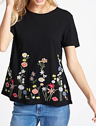 Feminino Camiseta Para Noite Casual Sensual Simples Moda de Rua Verão,Bordado Seda Algodão Decote Redondo Manga Curta Média